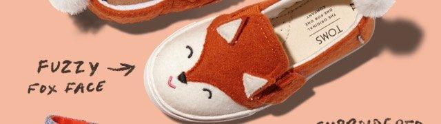 Orange Felt Fox Face Tiny TOMS Luca Slip-Ons