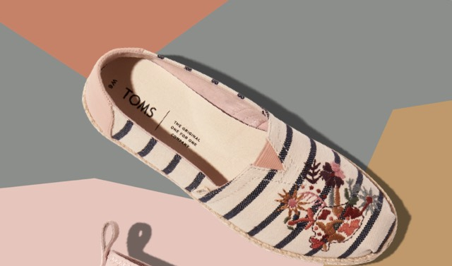 Floral Embroidery Striped Women's Espadrilles