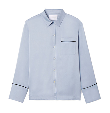 Asceno Silk-Satin Button-Up PJ Top $280