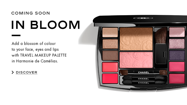 COMING SOON IN BLOOM Add a blossom of colour to your face, eyes and lips with TRAVEL MAKEUP PALETTE in Harmonie de Camlias. DISCOVER