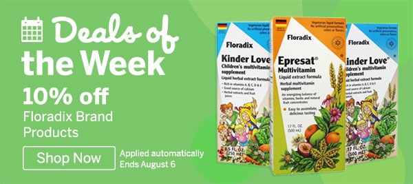 Deals of the Week 10% Off Floradix Brand Products. Ends August 7 2018 | Shop Now