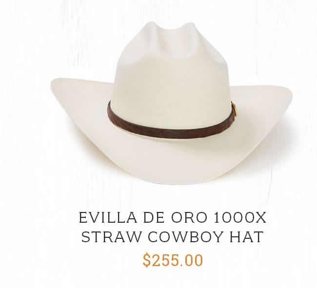 2645fe4b566b5 Evilla De Oro 1000x Straw Cowboy Hat ...