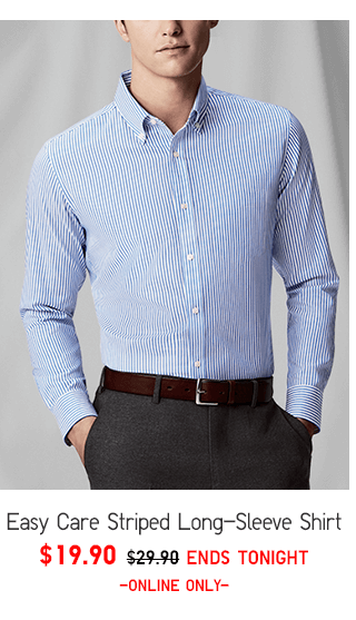 EASY CARE STRIPED LONG-SLEEVE SHIRT $19.90 - SHOP MEN
