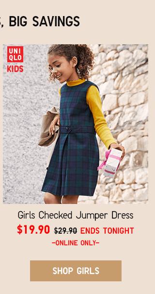 GIRLS CHECKED JUMPER DRESS $19.90 - SHOP GIRLS