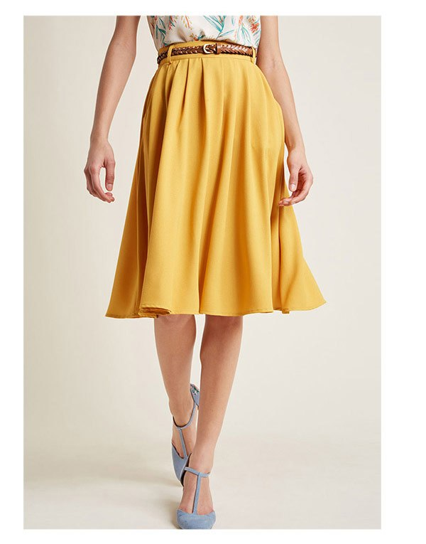 Breathtaking Tiger Lilies Midi Skirt in Mustard