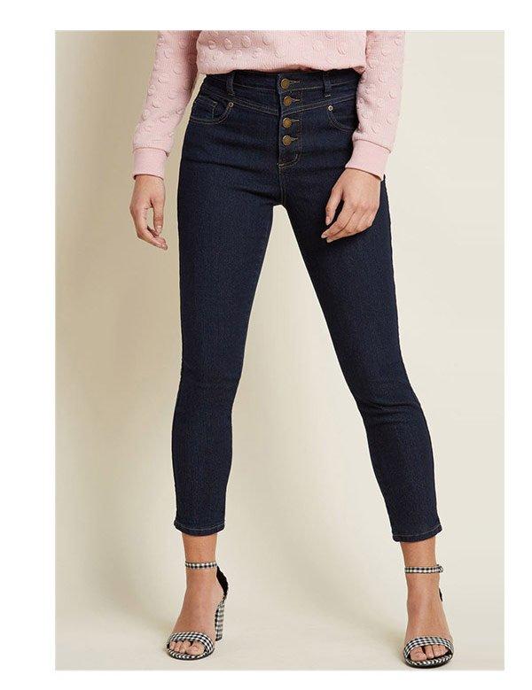 Karaoke Seamstress Buttoned Skinny Jeans