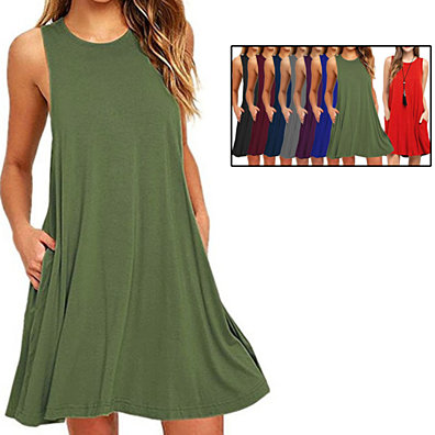 Sleeveless Casual Swing T-Shirt Dress with Pockets