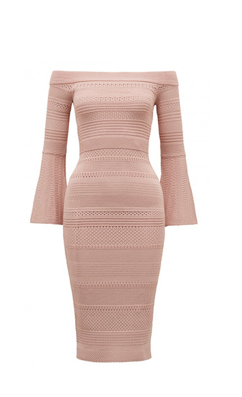 Stassi Pointelle Flare Sleeve Dress