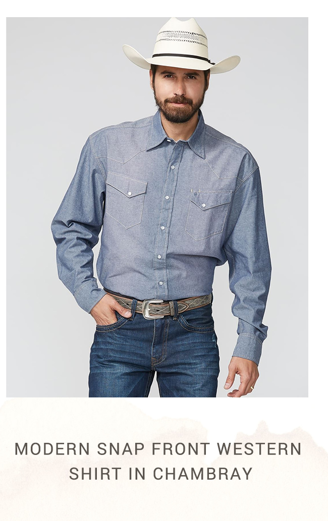 Modern Snap Front Western Shirt in Chambray