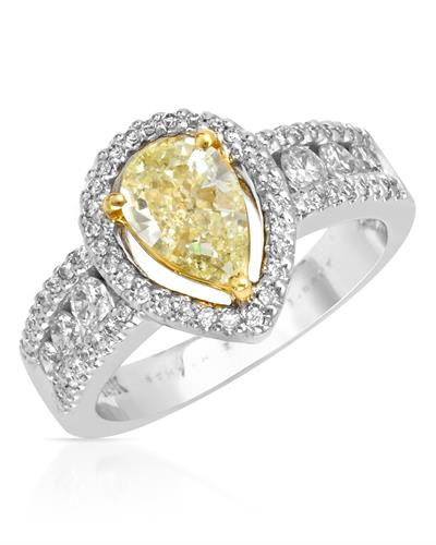 Solitaire Plus Ring With 1.62ctw Diamonds 18K Two Tone Gold