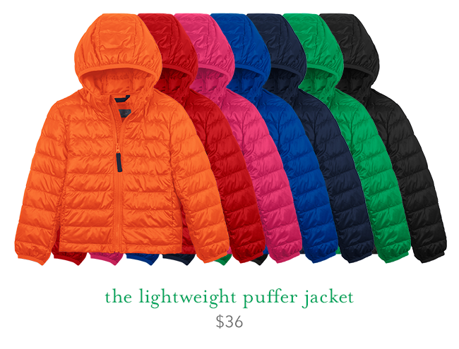 the lightweight puffer jacket: $36