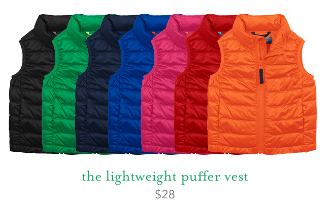 the lightweight puffer vest: $28