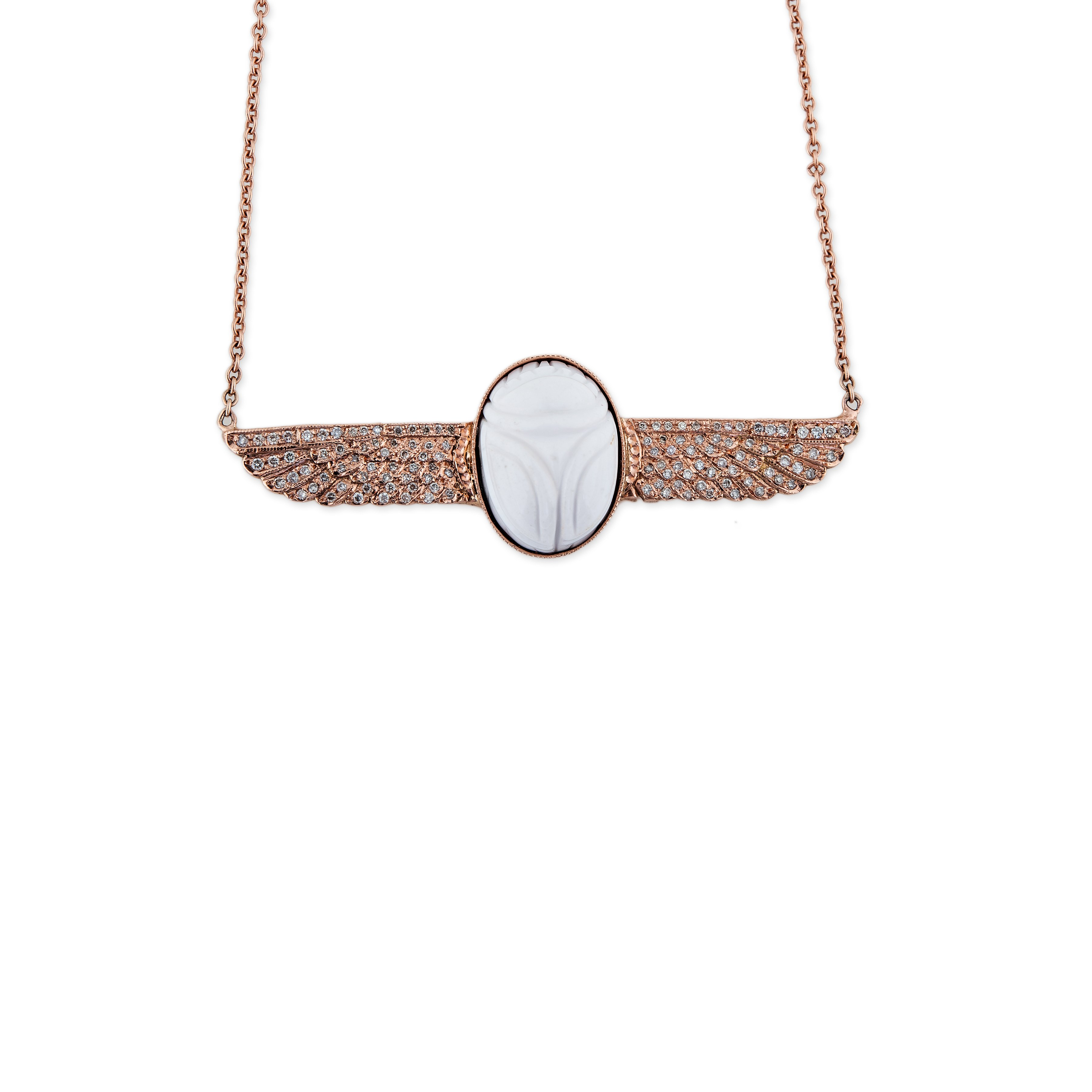 Image of White Scarab Necklace