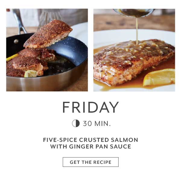 Friday Five-Spice Crusted Salmon with Ginger Pan Sauce
