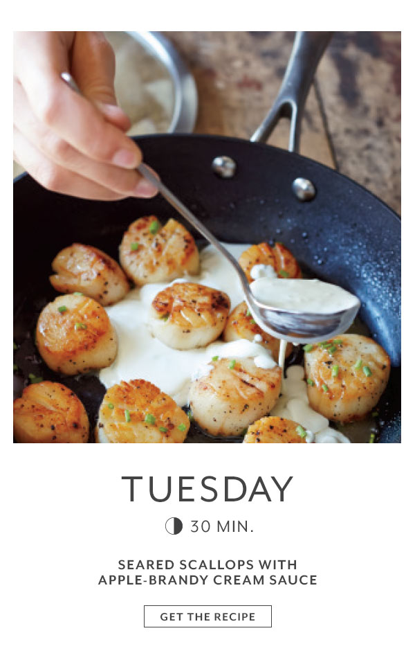 Tuesday Seared Scallops with Apple-Brandy Cream Sauce