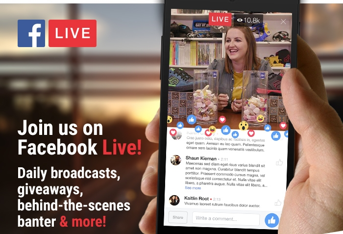 Join us on Facebook Live! Daily broadcasts, giveaways, behind-the-scenes banter & more!