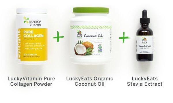 LuckyVitamin Pure Collagen Powder + LuckyEats Organic Coconut Oil + LuckyEats Stevia Extract