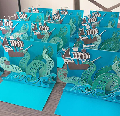 Pirate-themed party invitations.