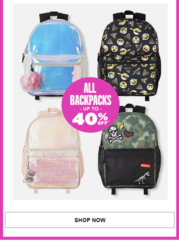 All Backpacks Up to 40% off