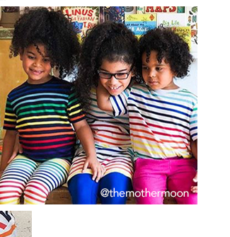 photo of three girls wearing a combination of navy and ivory rainbow stripe styles