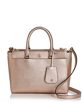 Tory Burch Robinson Small Double Zip Leather Tote