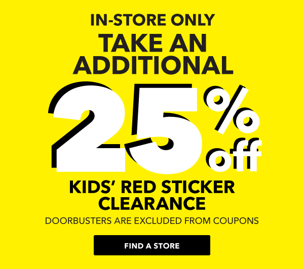 Kids Red Stickered Clearance.