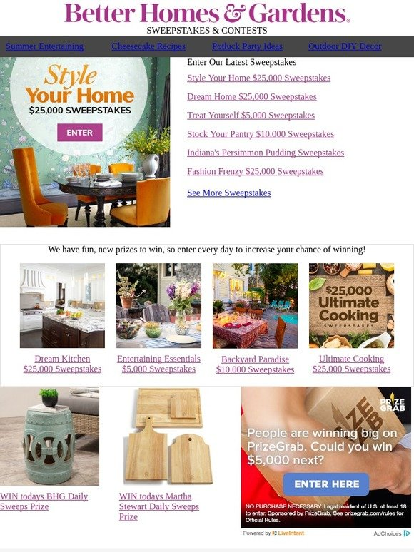 Better homes and gardens dream home sweepstakes