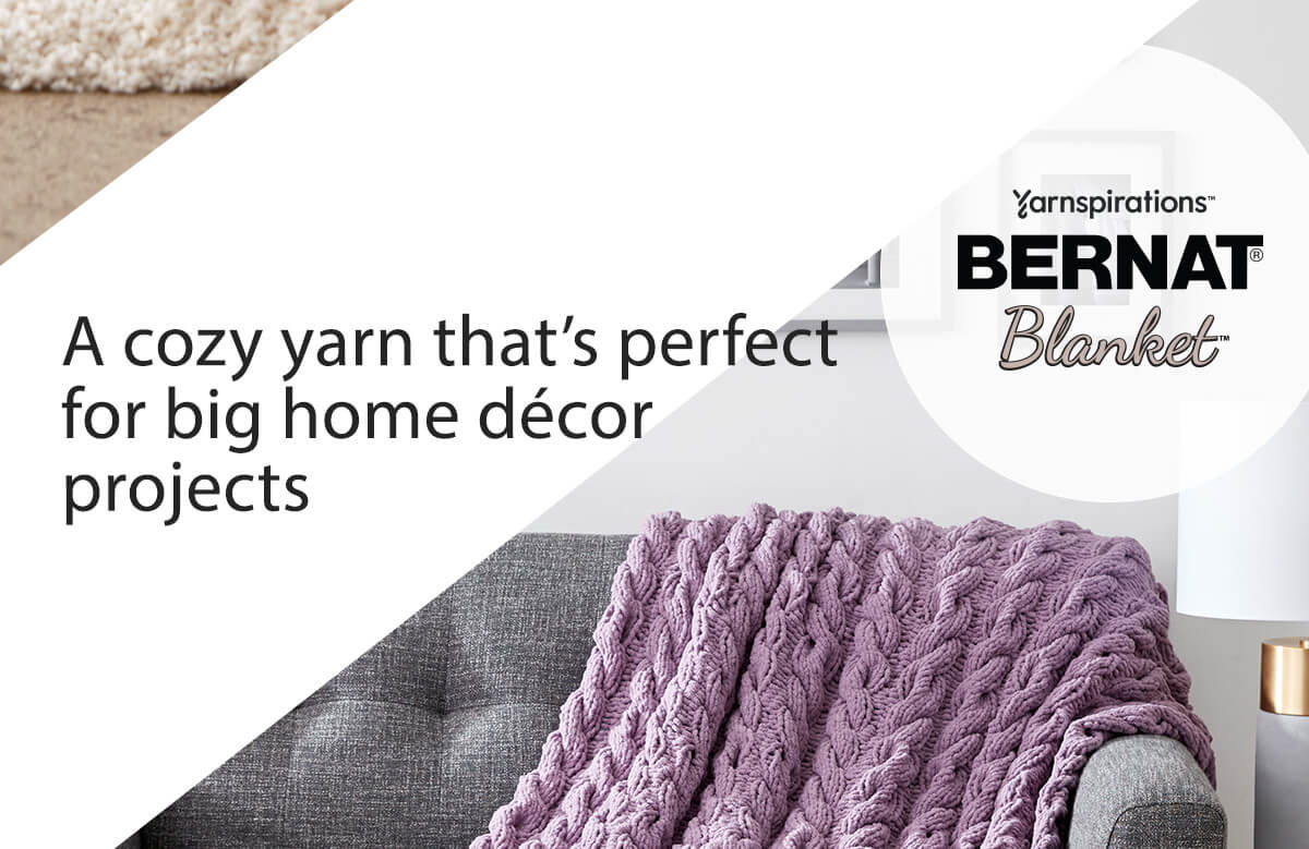 Bernat Blanket. A cozy yarn that's perfect for big home decor projects.