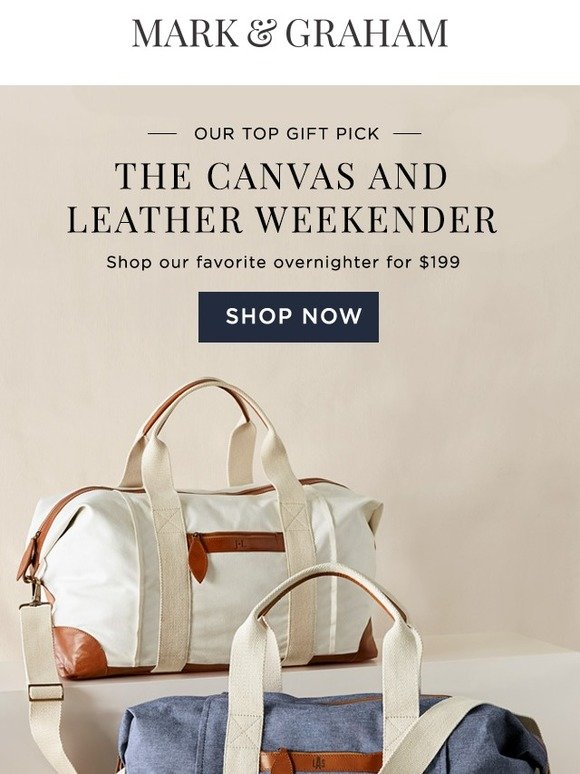 Mark and Graham  Gift We ❤   The Best Selling Canvas and Leather Weekender   ccdc1b2cce125