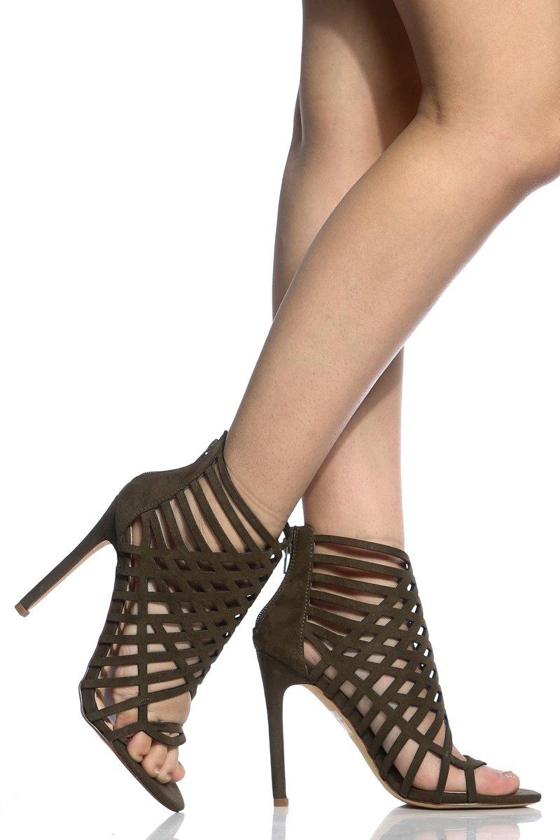 426134e2fbd Olive Faux Suede Laser Cut Single Sole Heels