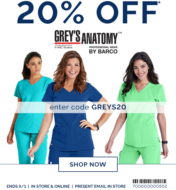 312131239e8 Uniform City: 20% Off Grey's Anatomy & ALL Barco Brands!   Milled