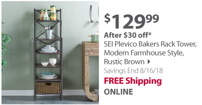 SEI Plevico Bakers Rack Tower, Modern Farmhouse Style, Rustic Brown