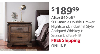 SEI Dinacile Double-Drawer Nightstand, Industrial Style, Antiqued Whis