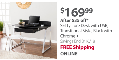 SEI Tylifore Desk w/ USB, Transitional Style, Black w/ Chrome