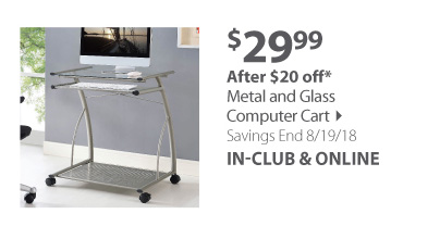 Metal and Glass Computer Cart
