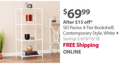 SEI Pavixx 4-Tier Bookshelf, Contemporary Style, White
