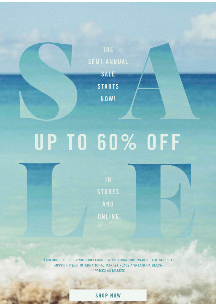 Billabong: A (sale) dream come true    up to 60% off! | Milled