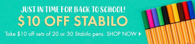 Take $10 Off Sets of 20 and 30 Stabilo Pens for Back to School!