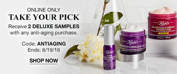 ONLINE ONLY - TAKE YOUR PICK - Receive 2 DELUXE SAMPLES with any anti-aging purchase. - Code:ANTIAGING - Ends: 8/19/18 - SHOP NOW