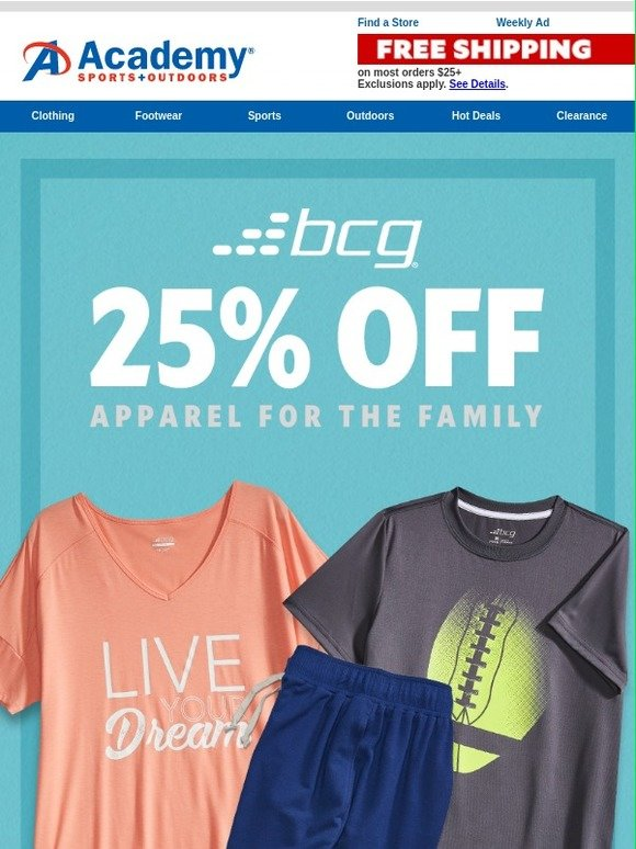 Academy Sports Outdoor Get 25 Off Bcg Apparel Milled