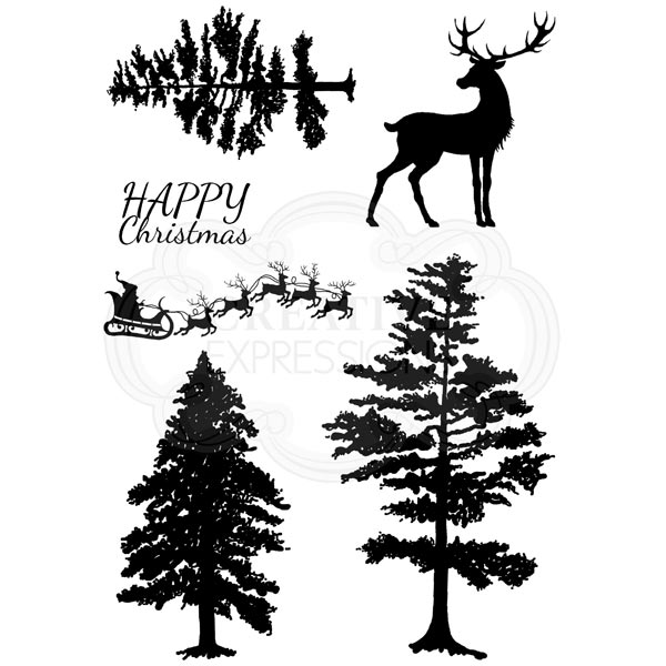 Image of Woodware Clear Stamp Set Silhouette Forest with Sentiment
