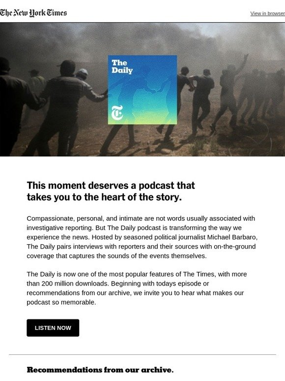 New York Times: Experience reporting as it happens: Listen