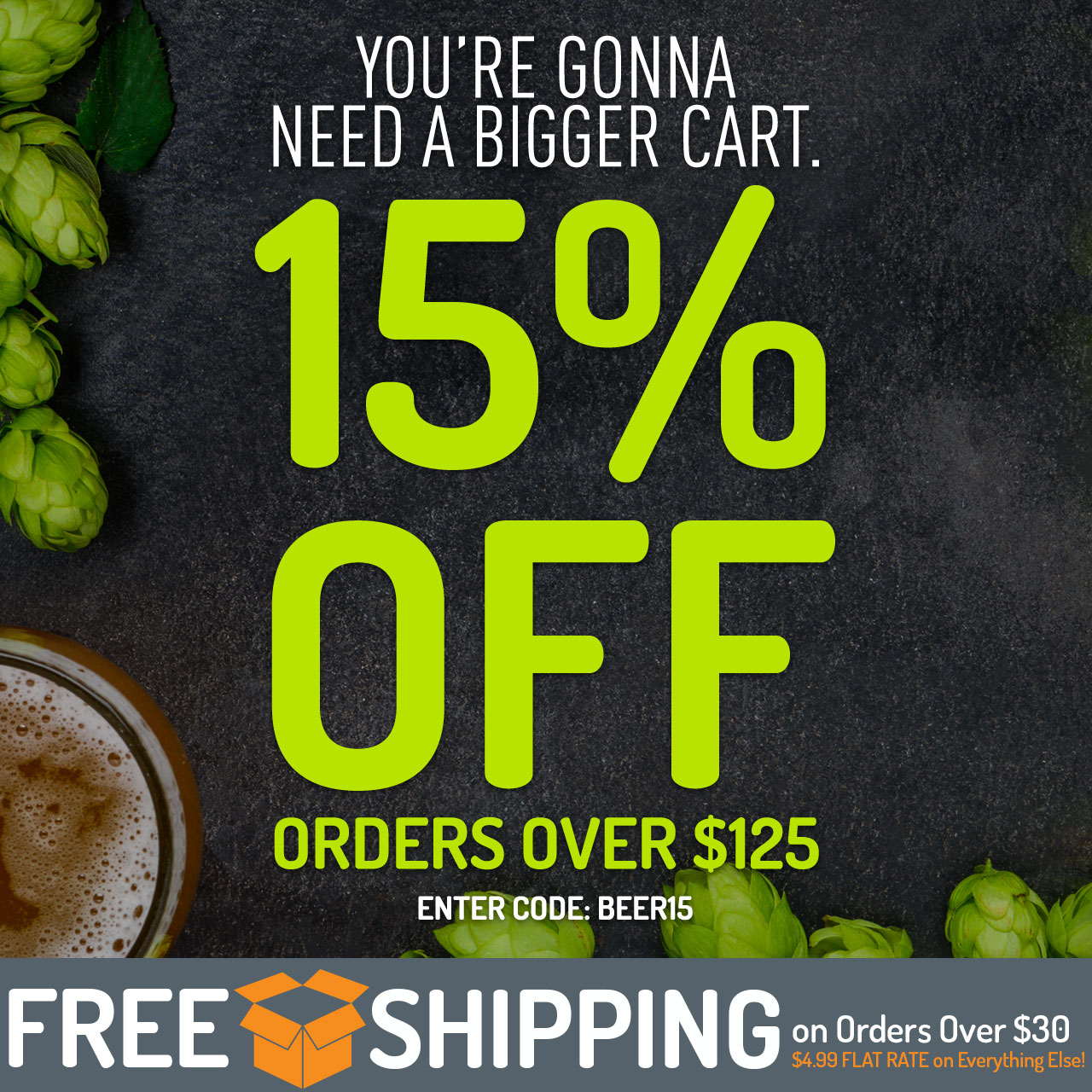 "15% off Orders Over $125. Use code ""BEER15"" now through 11:59pm CST on 8/21/2018."