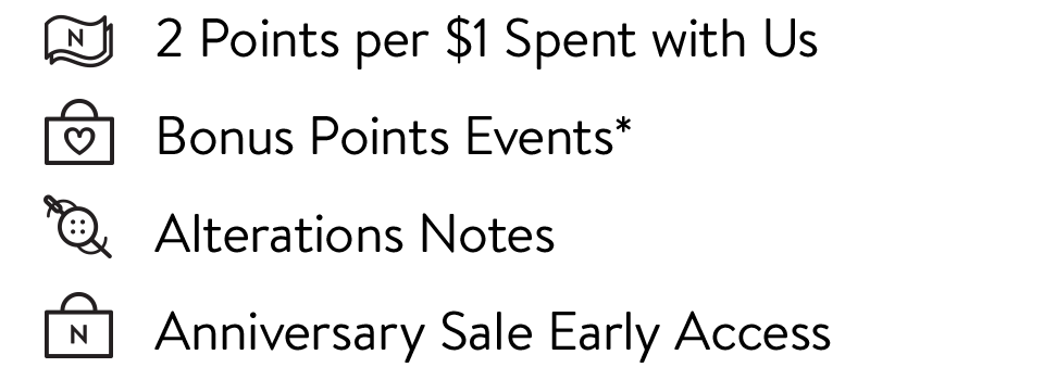 2 points per $1 spent with us Bonus Points Events* Alterations Notes Anniversary Sale Early Access