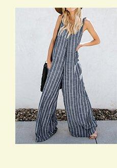 a7d7b14de40 V-neck Sleeveless Striped Pockets Wide Legged Jumpsuit