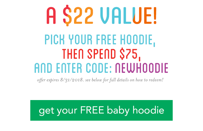 1) pick your free hoodie, 2) then spend $75, 3) and enter code: NEWHOODIE