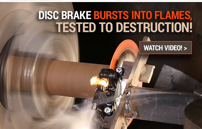 Disc brake bursts into flames, tested to destruction!