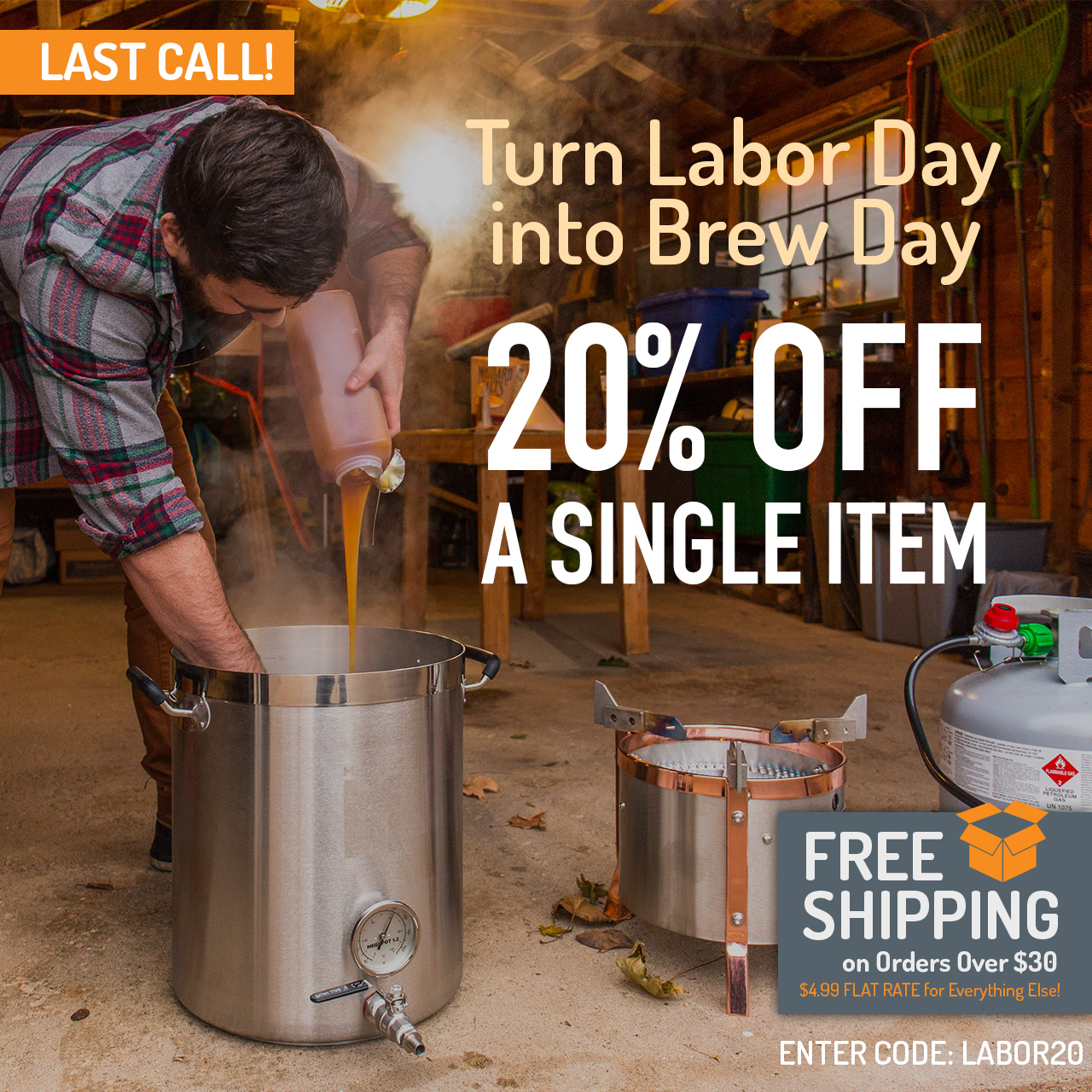 "20% Off Any Single Item. Use code ""LABOR20"" now through 11:59pm CST on 8/26/2018."