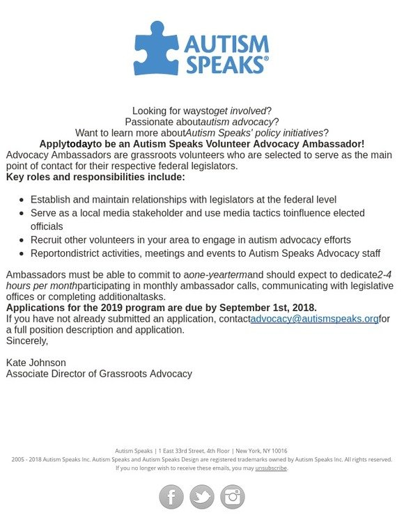 Autism Speaks: Don't Forget! Apply to be an Advocacy