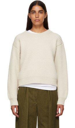 Acne Studios - Beige Wool Rib Crewneck Sweater